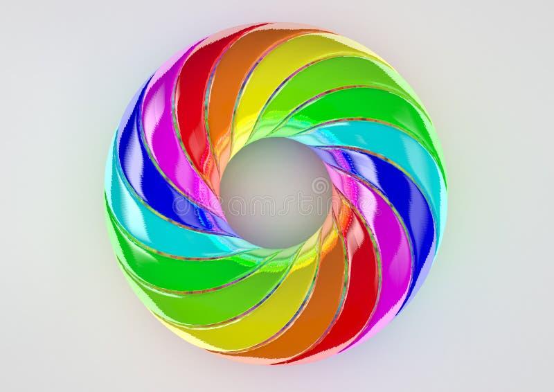 Toro del fondo bianco doppiamente torto delle strisce - illustrazione variopinta di forma 3D dell'estratto fotografie stock