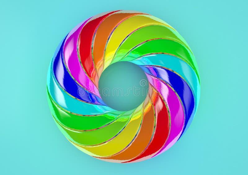 Toro del fondo blu doppiamente torto delle strisce - illustrazione variopinta di forma 3D dell'estratto illustrazione vettoriale