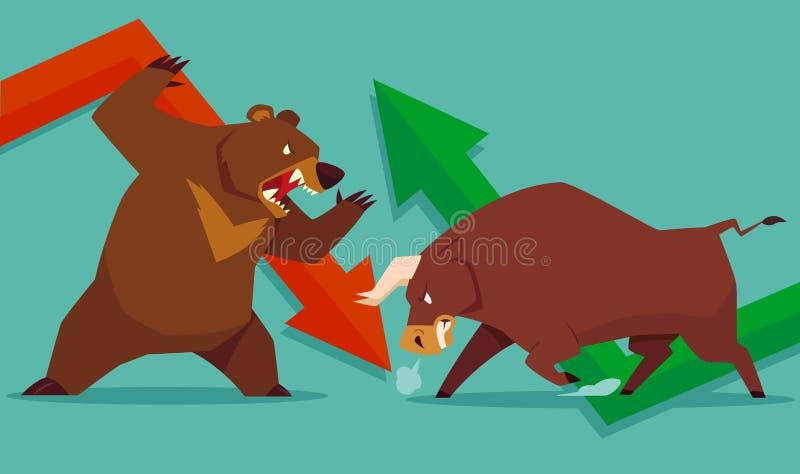 Toro del mercado de acción contra oso stock de ilustración