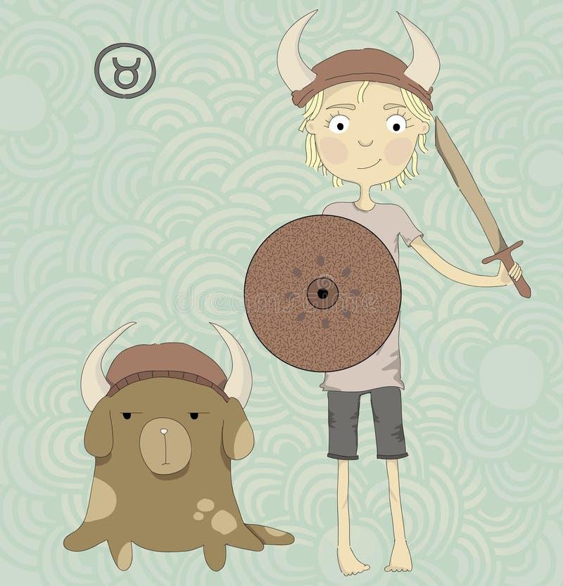 Toro del segno dello zodiaco. Un ragazzo con una spada e uno shiel illustrazione vettoriale
