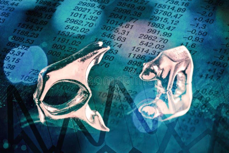 Toro e ribassista con i prezzi delle azioni immagini stock