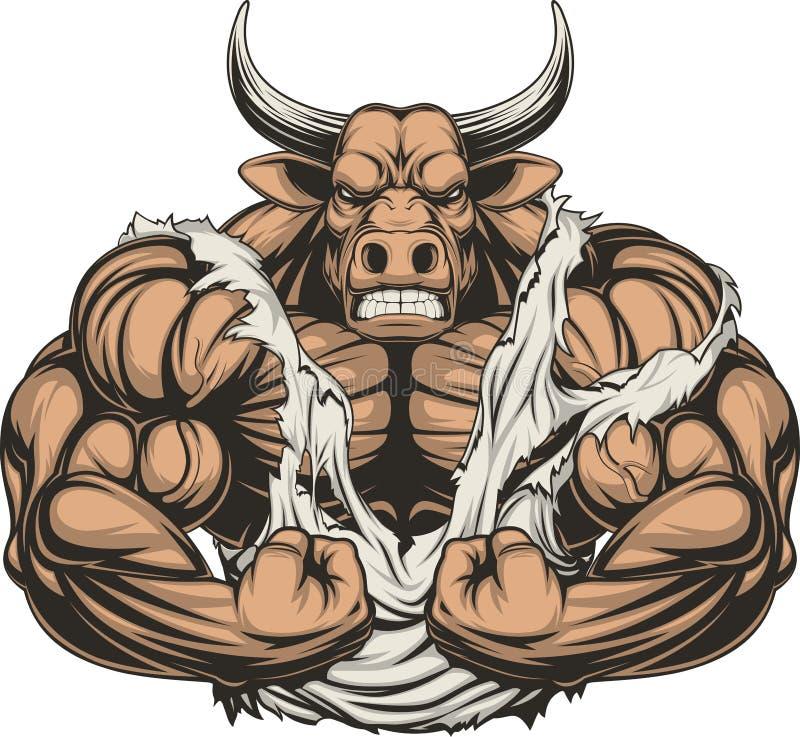 Toro feroz fuerte stock de ilustración