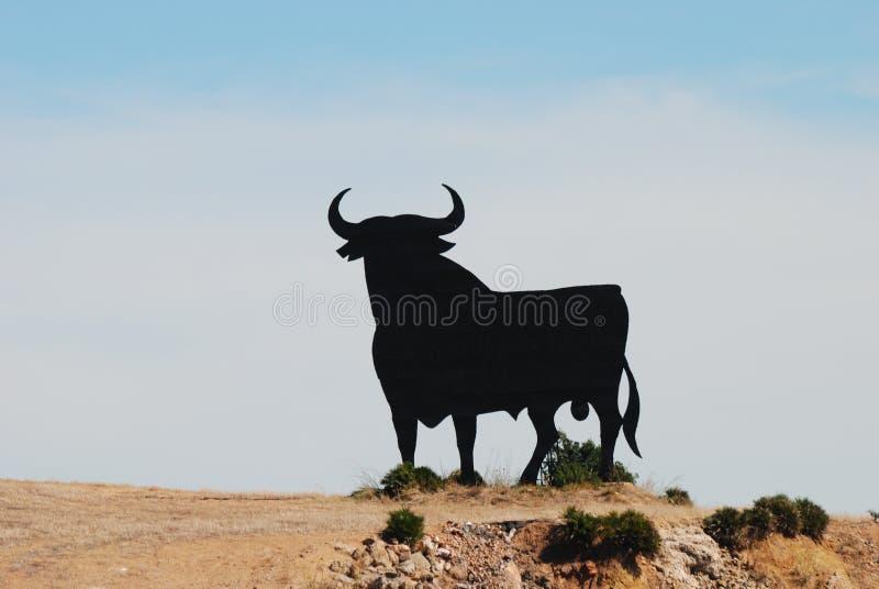 Toro nero nel paesaggio spagnolo immagine stock libera da diritti