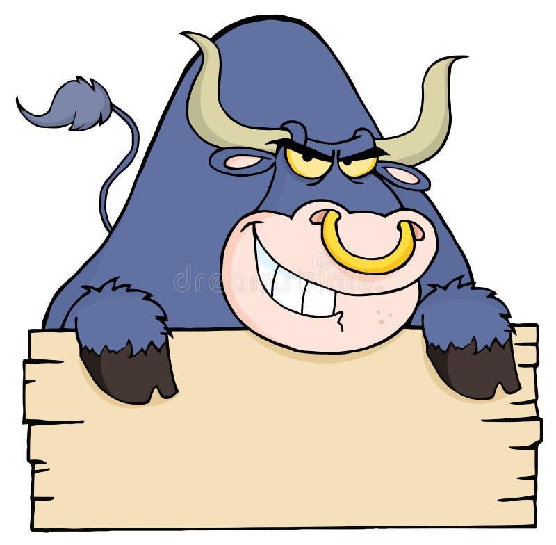 Toro púrpura y muestra en blanco stock de ilustración