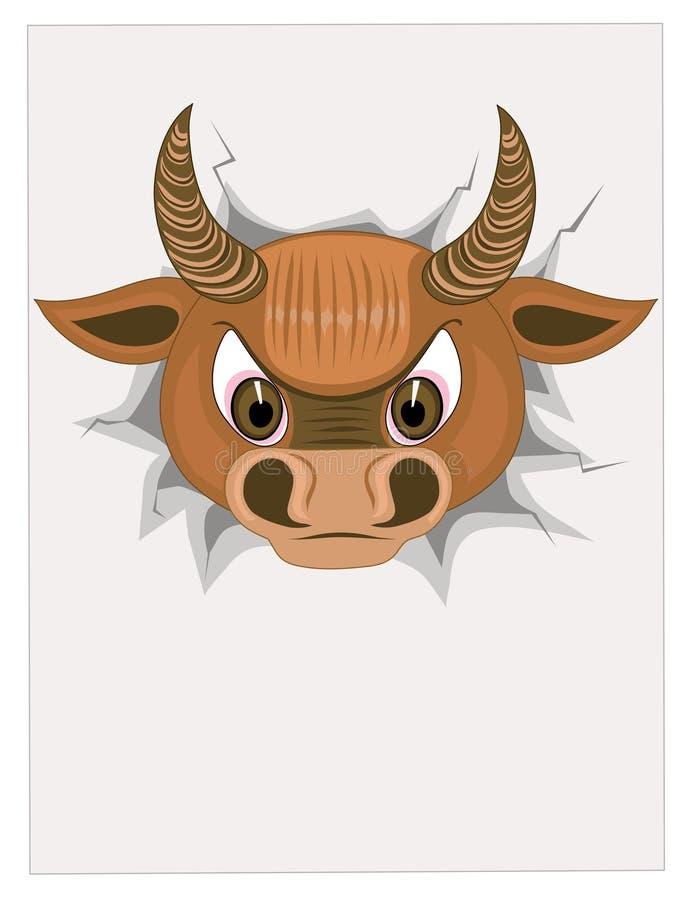 Toro principal con el papel en blanco ilustración del vector