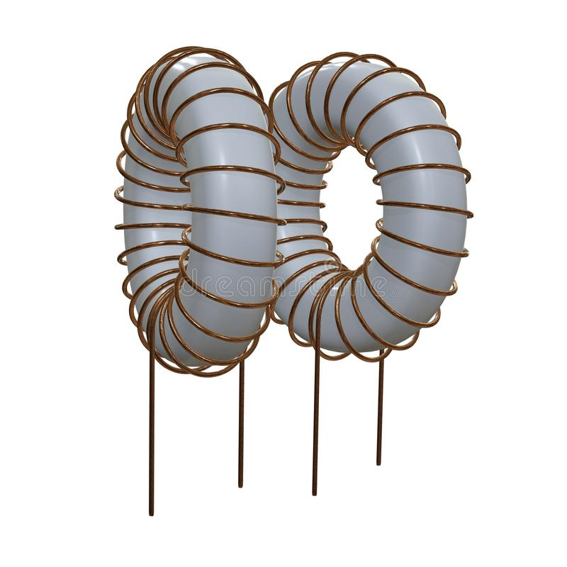 Toroidal Coil Inductor. 3d render illustration. Copper wire winding. Magnetic ferrite core vector illustration