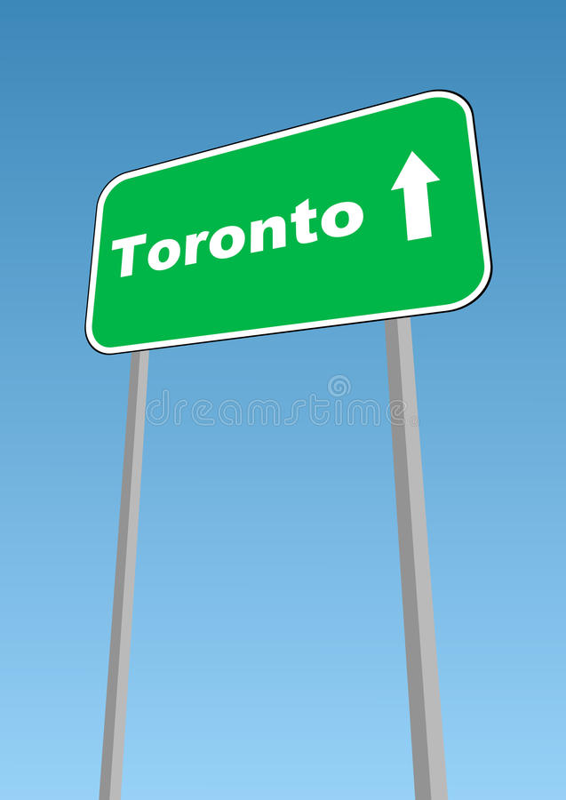 Toronto. Vector illustration - road sign with direction forward to Toronto, Canada stock illustration