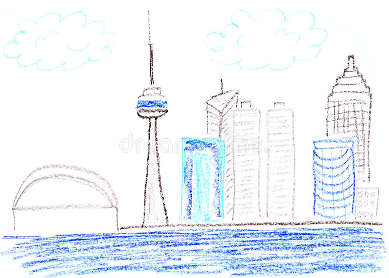 Toronto. Child drawing of Toronto waterfront skyline made with wax crayons stock illustration