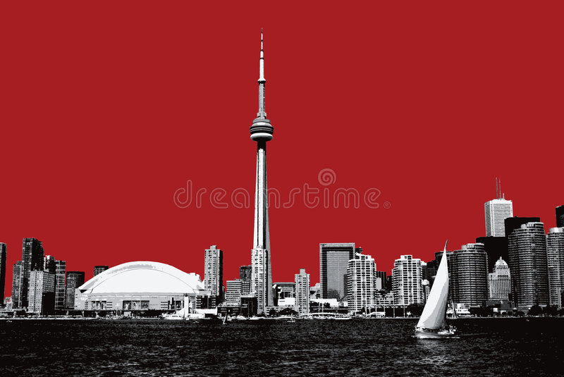 Toronto. Downtown lake view on red background stock illustration