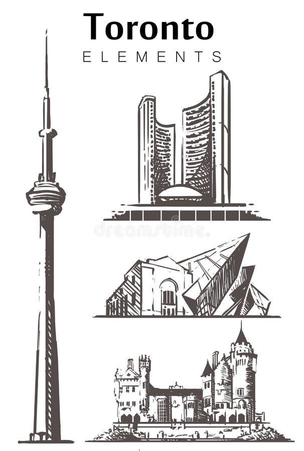 Toronto ajustou a skyline do esboço Ilustra??o tirada m?o do vetor de Canad?, Toronto ilustração do vetor