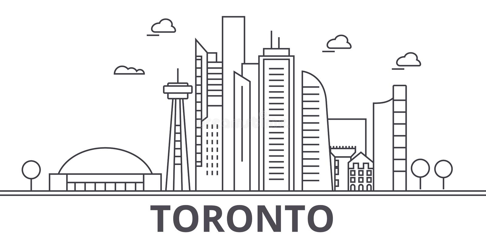 Toronto architecture line skyline illustration. Linear vector cityscape with famous landmarks, city sights, design icons. Editable strokes royalty free illustration