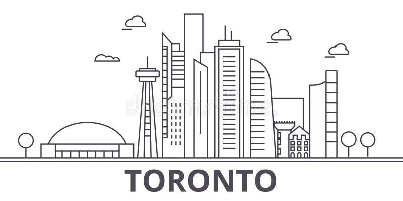 Toronto architektury linii linii horyzontu ilustracja Liniowy wektorowy pejzaż miejski z sławnymi punktami zwrotnymi, miasto wido royalty ilustracja