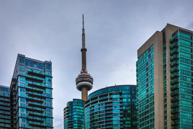 Toronto, CANADÁ - 20 de novembro de 2018: Opinião da paisagem na cidade ocupada de Toronto com arranha-céus e a torre legendária  imagens de stock royalty free