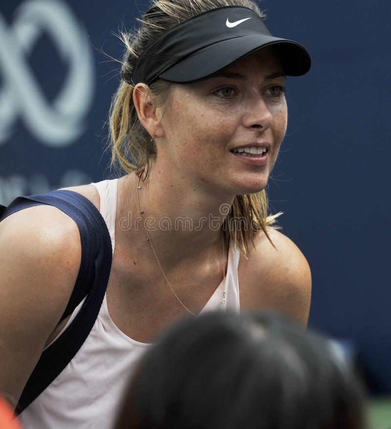Five times Grand Slam Champion Maria Sharapova of Russian Federation practices for 2019 Rogers Cup in Toronto stock photography