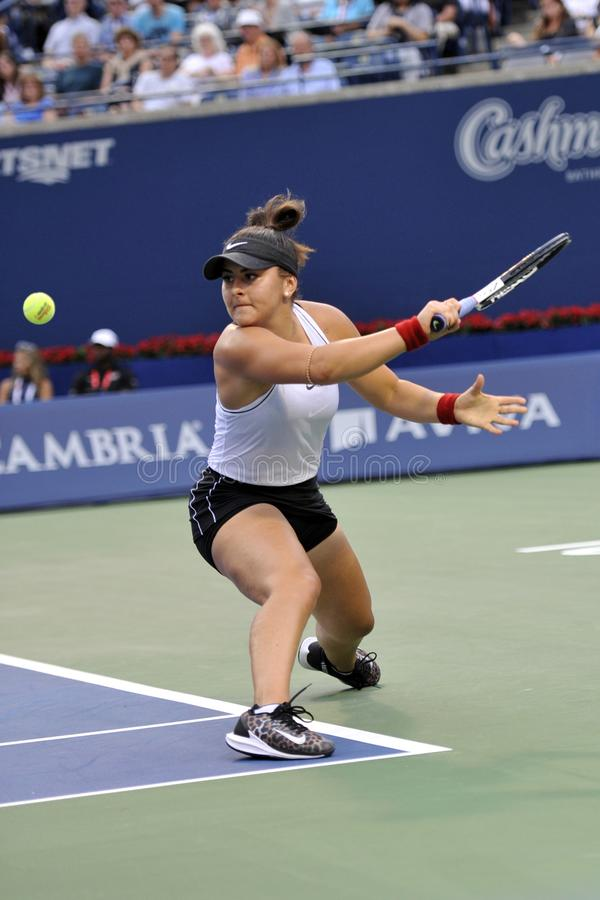 Professional tennis player Bianca Andreescu of Canada in action during her final match at 2019 Rogers Cup in Toronto royalty free stock photography