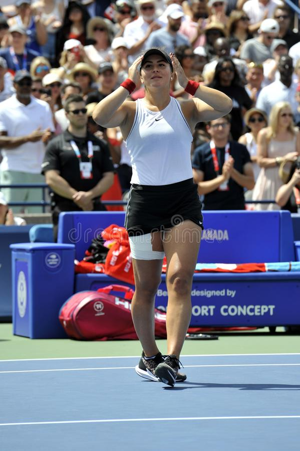 Professional tennis player Bianca Andreescu of Canada celebrates victory after her final match at 2019 Rogers Cup in Toronto royalty free stock images