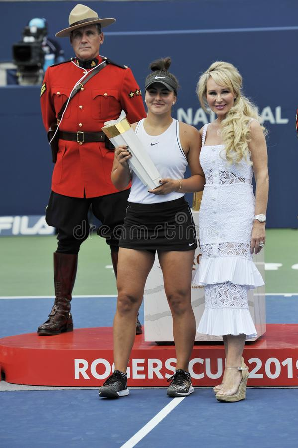 Professional tennis player Bianca Andreescu of Canada celebrates victory after her final match at 2019 Rogers Cup in Toronto stock photo
