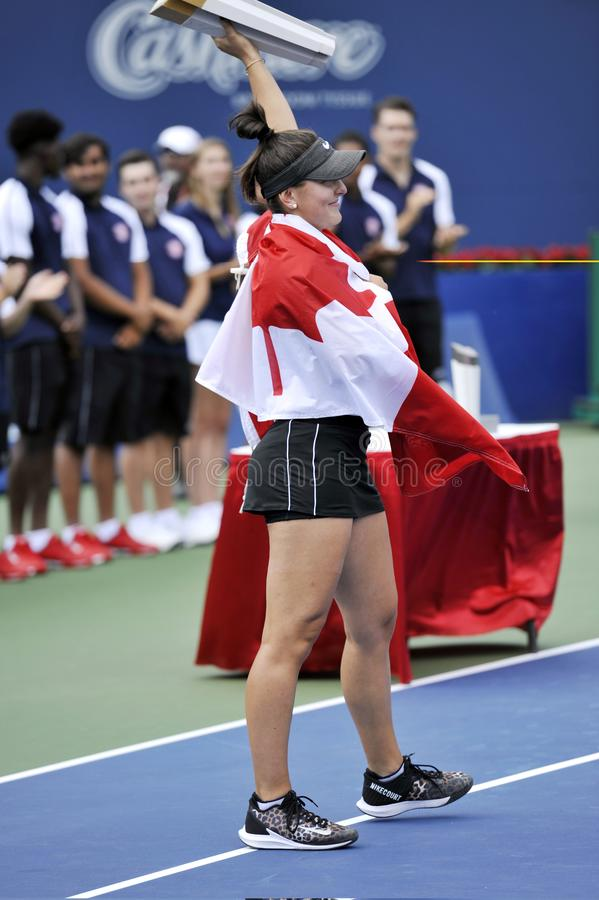 Professional tennis player Bianca Andreescu of Canada celebrates victory after her final match at 2019 Rogers Cup in Toronto royalty free stock photos