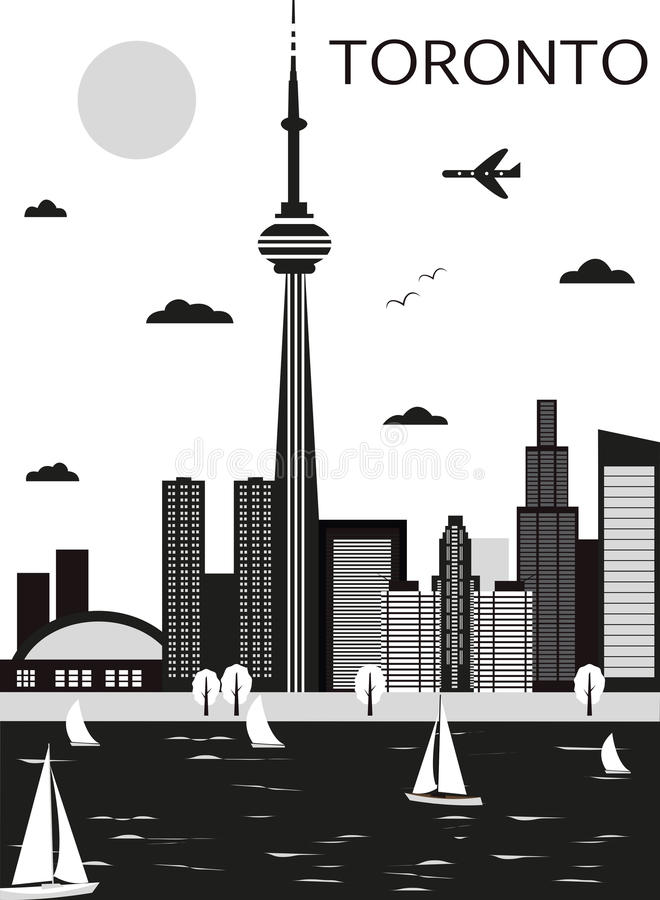 Toronto. Canada. Toronto Canada in black and white colors. Vector vector illustration