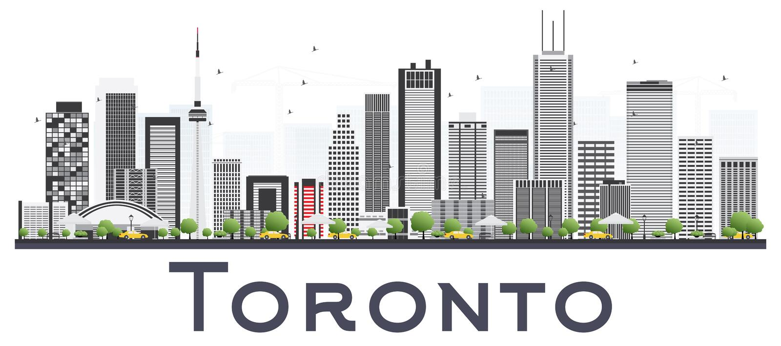Toronto Canada City Skyline with Color Buildings Isolated on White Background. Vector Illustration. Business Travel and Tourism Concept with Modern stock illustration