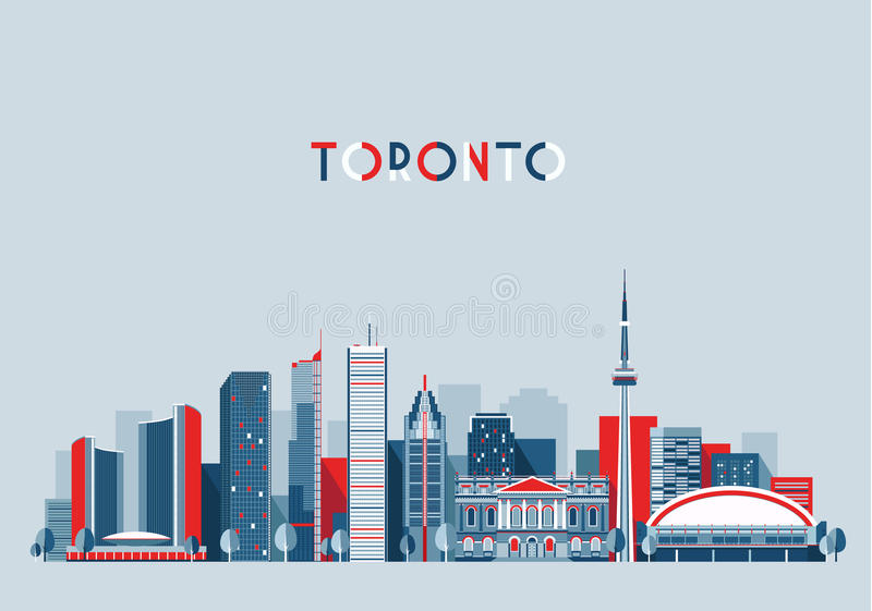 Toronto Canada City Skyline Flat Trendy Vector vector illustration