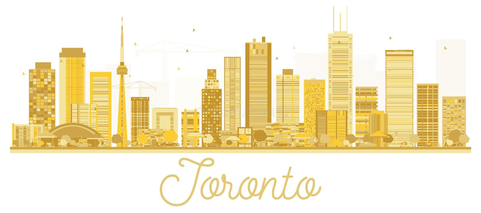 Toronto Canada City skyline golden silhouette. Vector illustration. Business travel concept. Toronto Cityscape with landmarks stock illustration