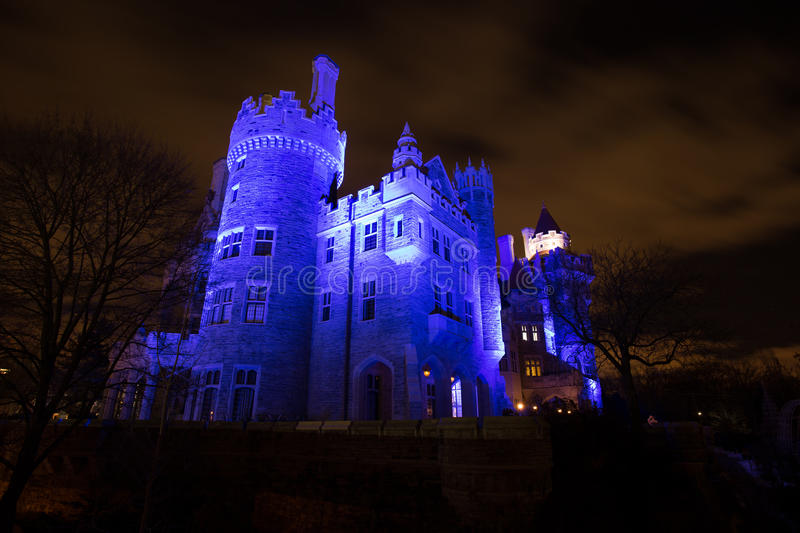 Toronto, Canada - Dec 25, 2016: View of Casa Loma at Night royalty free stock image