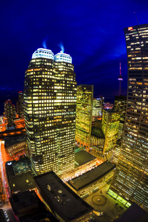 Toronto Canada. 5. FEB. 2016:Aerial view of Toronto Downtown Core at night. Toronto is the most populous city in Canada and the provincial capital of Ontario. ( royalty free stock photo