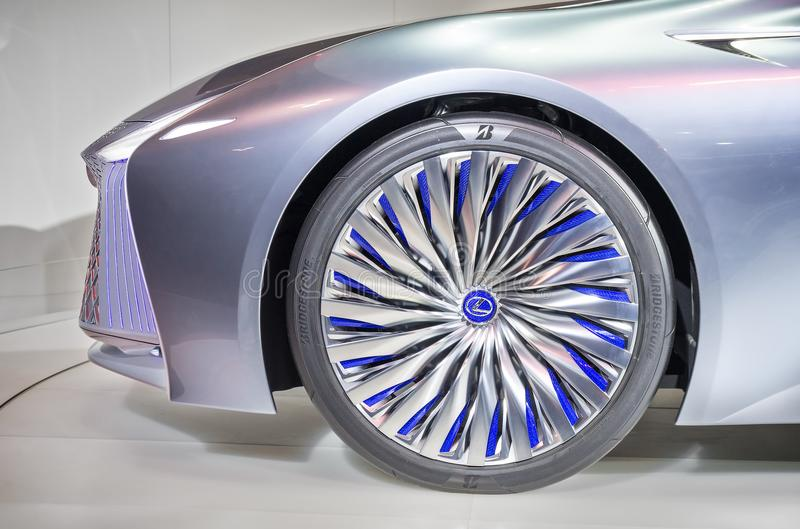 Toronto, Canada - 2018-02-19: Gorgeous wheel rim of the Lexus LS Concept, which was displayed on the Lexus brand stock photography