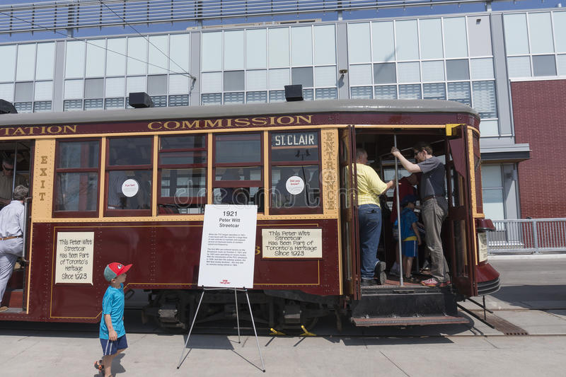 TORONTO, CANADA - MAY 28, 2016: vintage 1923 streetcar on display at Leslie Barns on Doors Open Toronto 2016. Visitors to Leslie Barns TTC (Toronto Transit royalty free stock photos
