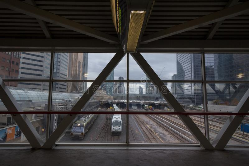 Go Transit trains on Union station platforms and tracks ready for departure. royalty free stock photo