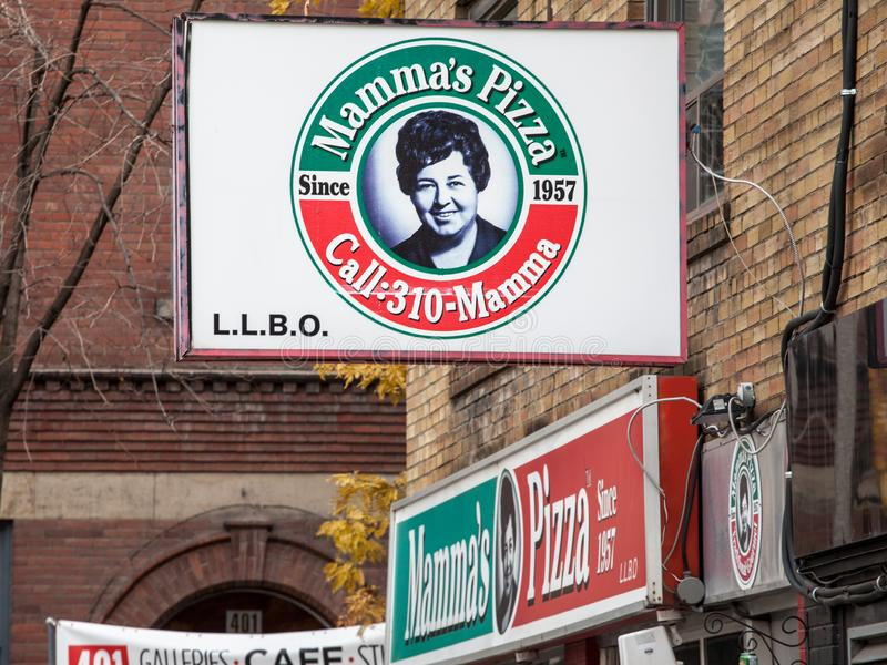 Mama`s Pizza logo in front of their fast food in Toronto, Ontario. stock photo