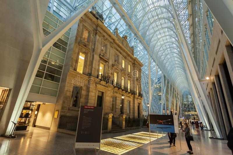 Brookfield Place, Toronto, Canada. Toronto, Canada - Oct 21, 2017: Interior of the Brookfield Place in Toronto. Brookfield Place is an office and shopping stock photo