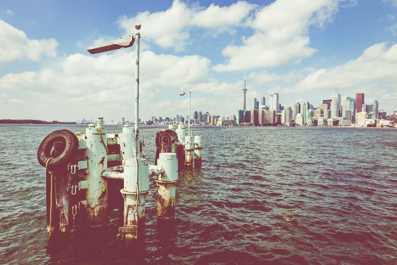 TORONTO, CANADA - SEPTEMBER 19, 2018: Beautiful Toronto`s skylin. E over lake. in Toronto, Ontario, Canada royalty free stock image