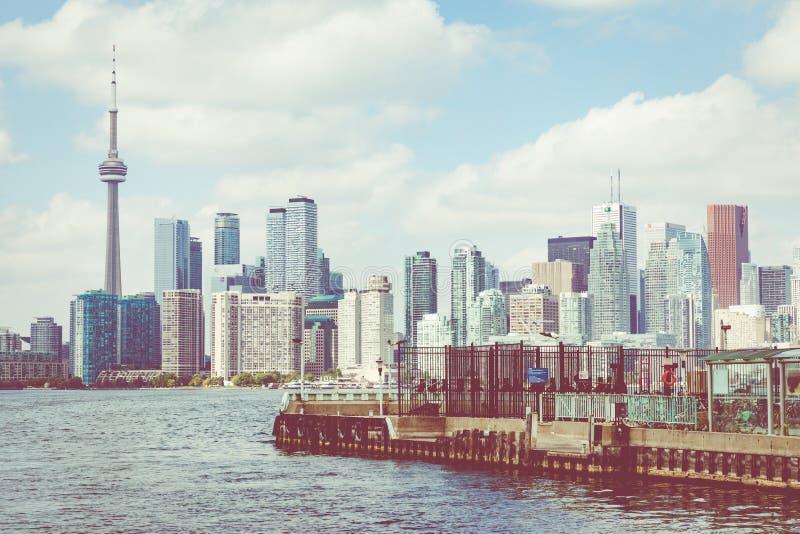 TORONTO, CANADA - SEPTEMBER 19, 2018: Beautiful Toronto`s skylin. E over lake. in Toronto, Ontario, Canada royalty free stock photography