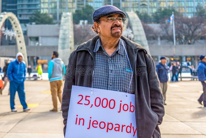 Toronto Canada: taxi drivers protest Uber X royalty free stock image