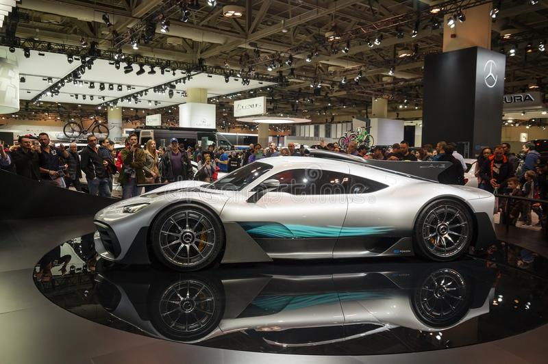 Toronto, Canada - 2018-02-19: Visitors of 2018 Canadian International AutoShow around the Mercedes-AMG Project ONE supercar displa royalty free stock images