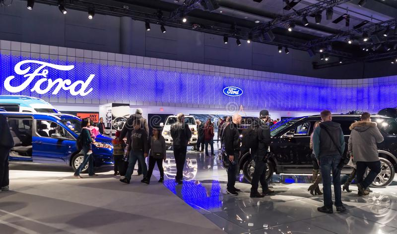 Toronto, Canada - 2018-02-19: Visitors of 2018 Canadian International AutoShow on Ford Motor Company exposition stock photography