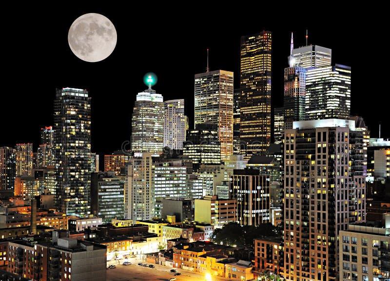 Toronto center. Night city view. Canada stock photos