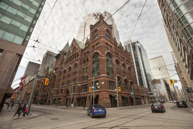 Toronto. City center. Victoria St. and Richmond St. Building on the corner of the two streets of Toronto. Wide angle lens stock photography