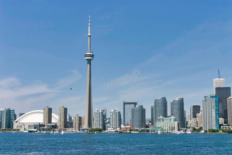 Toronto City and CN Tower stock image