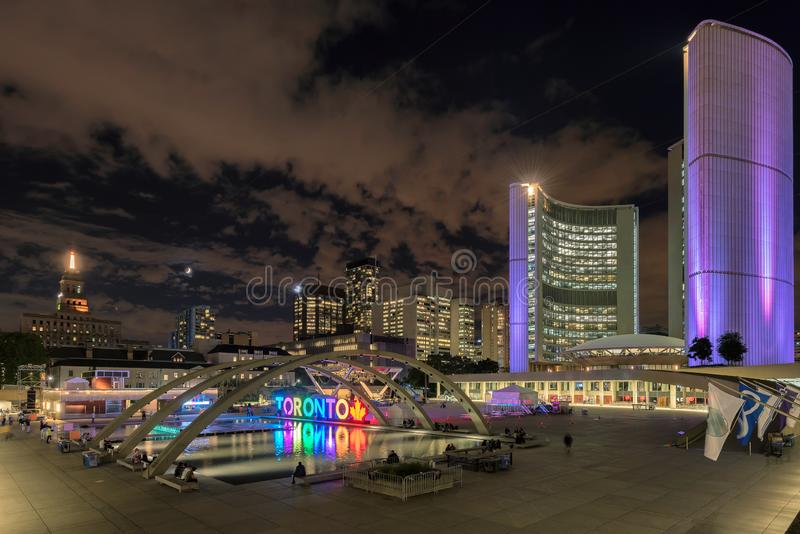 Toronto City Hall in downtown at night, Toronto, Ontario, Canada royalty free stock photos
