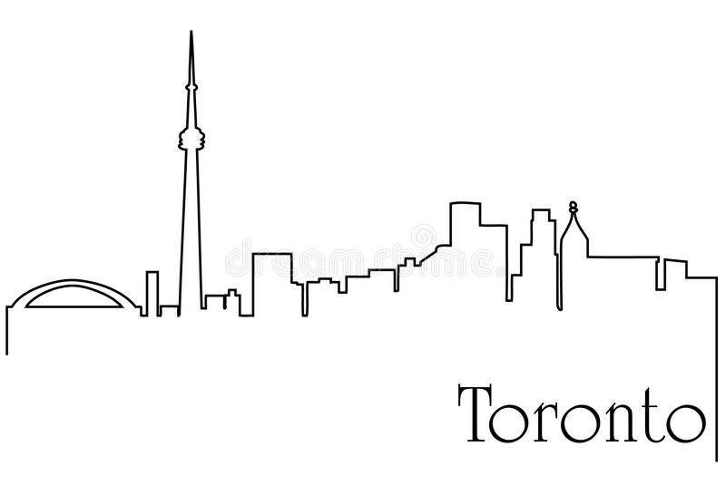 Toronto city one line drawing abstract background. Abstract background with metropolis cityscape stock illustration