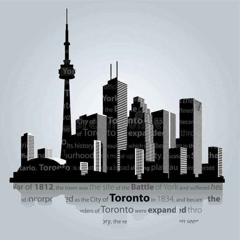 Toronto city silhouette. Toronto city skyline silhouette vector illustration royalty free illustration