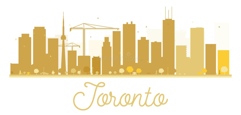 Toronto City skyline golden silhouette. stock illustration