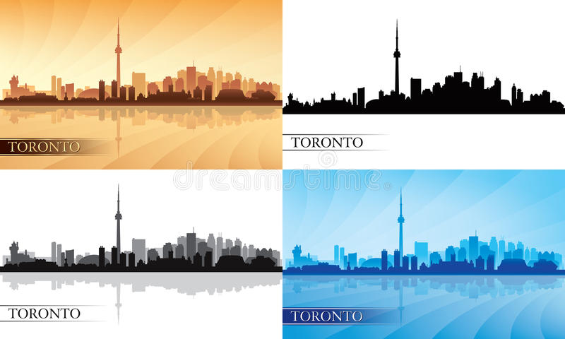 Toronto city skyline silhouette set stock illustration