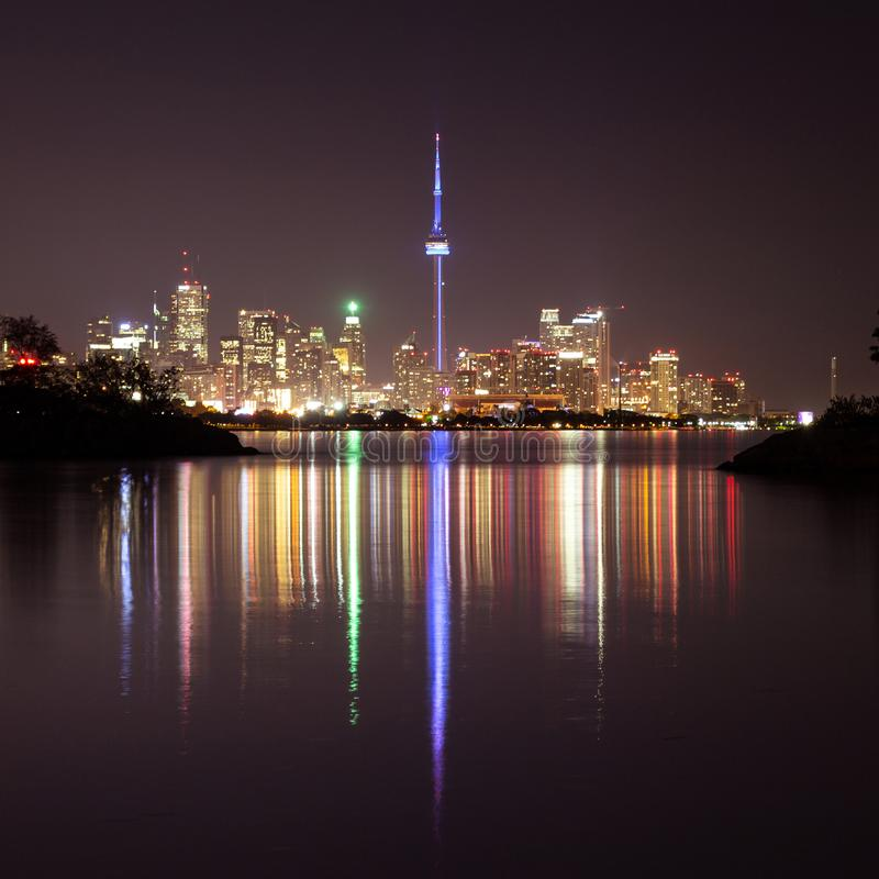 Toronto cityscape at night stock images