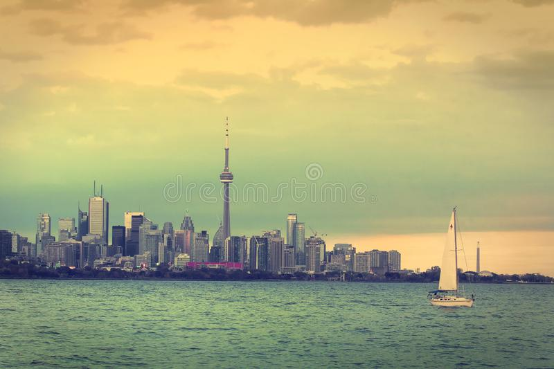 Toronto CN Tower. CN Tower in Toronto, Canada, seen from across the inner Harbour royalty free stock photo