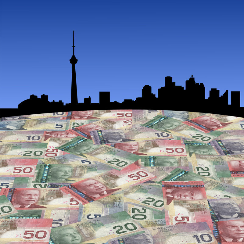 Toronto com dólares canadianos ilustração royalty free
