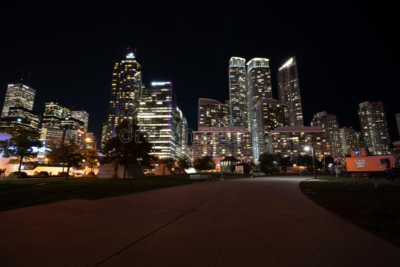 Toronto downton at night. Toronto downtown at night from the train museum stock photography